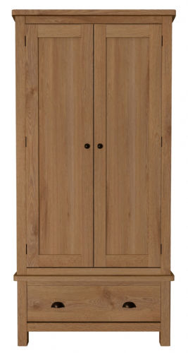 Richmond Rustic Oak Gents Wardrobe with Drawer